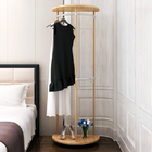 Contemporary High Gloss Wood & Steel Coat Stand with Wheels (Oak)