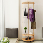 2 Tier Contemporary High Gloss Wood & Steel Coat Stand with Wheels (Oak)
