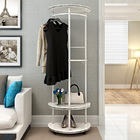 2 Tier Contemporary High Gloss Wood & Steel Coat Stand with Wheels (White)
