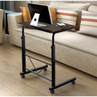 Adjustable Portable Sofa Bed Side Table Laptop Desk with Wheels (High Gloss Black)