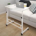 Adjustable Portable Sofa Bed Side Table Laptop Desk with Wheels (White)