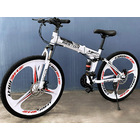 Deluxe Dual Suspension Foldable 21 Speed 3 Spoke Mountain Bike (White & Black Bicycle)