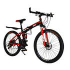 Dual Suspension Foldable 21 Speed Mountain Bike  (Red & Black Bicycle)