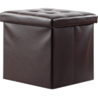 Premium Large 50L PU Leather Ottoman Foldable Storage Stool (Dark Brown))
