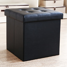 Premium Large 50L PU Leather Ottoman Foldable Storage Stool (Black)