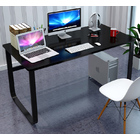 Broadstreet Large Thick Wood & Metal Computer Desk (Black)