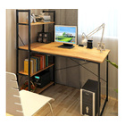 Exceeder Workstation Wood & Steel Computer Desk with  Storage Shelves (Natural Oak)