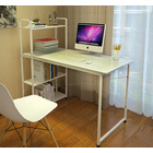 Exceeder Workstation Wood & Steel Computer Desk with  Storage Shelves (White)