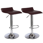 2 x Contemporary PU Leather Kitchen Bar Stools (Chocolate -Set of 2)