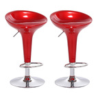 2 x  Ace High Gloss Designer Bar Stools (Red - Set of 2)