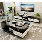 2-Piece Set Luxe High Gloss Large Coffee Table & TV Cabinet