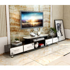 Luxe Large 4-Drawer Extendable TV Cabinet (High Gloss White & Black)
