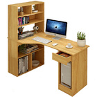 Large Combination Workstation Computer Desk with Storage Shelves (Oak)