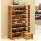 Majestic 8 Tier Shoe Rack Storage Organizer with Stool (Oak)