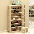 Majestic 8 Tier Shoe Rack Storage Organizer with Stool (White Oak)
