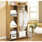 Varossa Wardrobe Shelf Closet Cupboard with Hanging Rack (Oak)