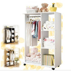 Varossa Wardrobe Shelf Closet Cupboard with Hanging Rack (WHITE)
