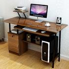 Large High Gloss Deluxe Computer Desk with Drawers and Shelves (Walnut)
