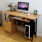 Large High Gloss Deluxe Computer Desk with Drawers and Shelves (Oak)