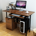 High Gloss Deluxe Computer Desk with Drawers and Shelves (Walnut)