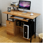 High Gloss Deluxe Computer Desk with Drawers and Shelves (Oak)