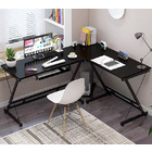 Oracle Corner Computer Desk Office Double Workstation (Black)