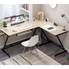 Oracle Corner Computer Desk Office Double Workstation (White Oak)