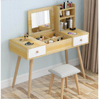 Glam Large Dresser Table with Mirror, Stool and Storage Shelves Set (Oak)