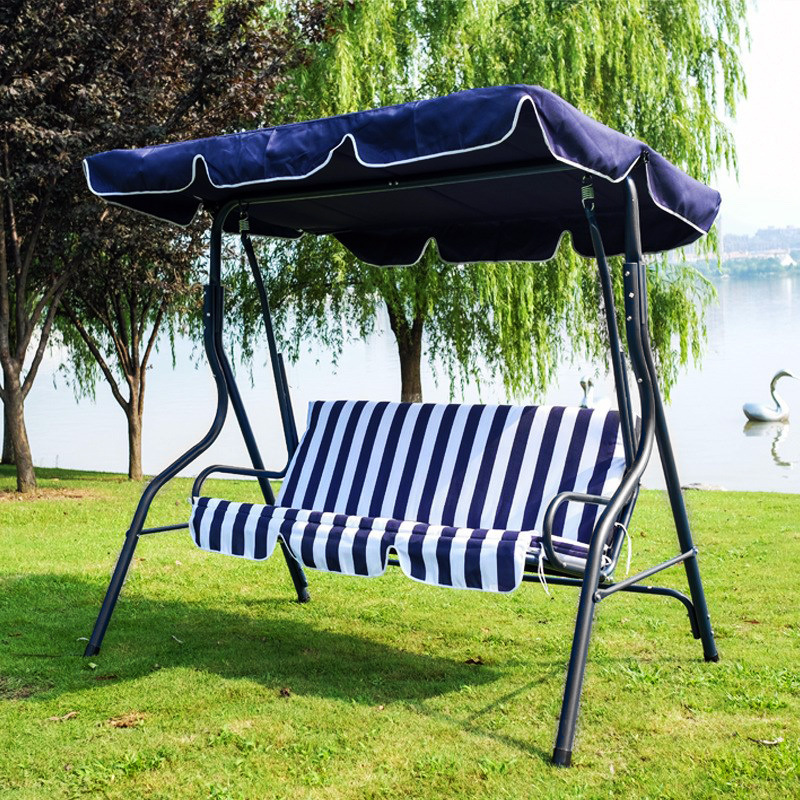 3-Person Outdoor Swing Chair with Padded Cushion (Blue)