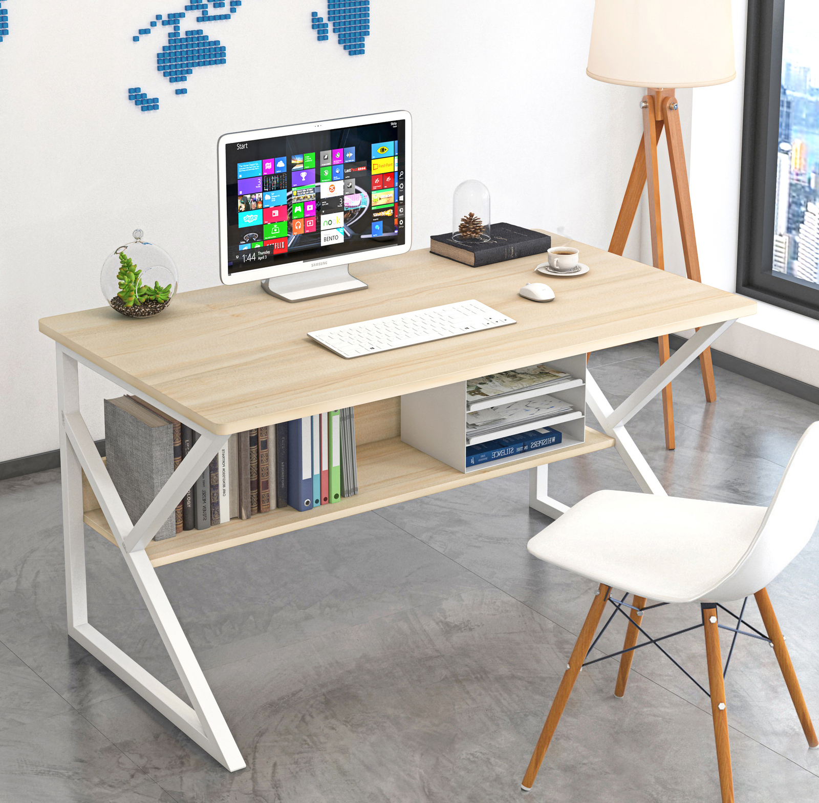 Kori Wood & Metal Computer Desk with Shelf (White) -100cm