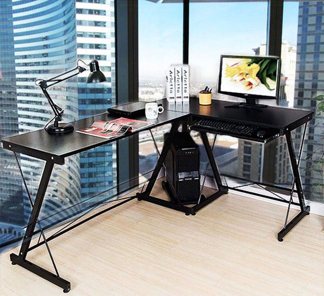 Excel Corner Computer Desk Office Double Workstation (Black)