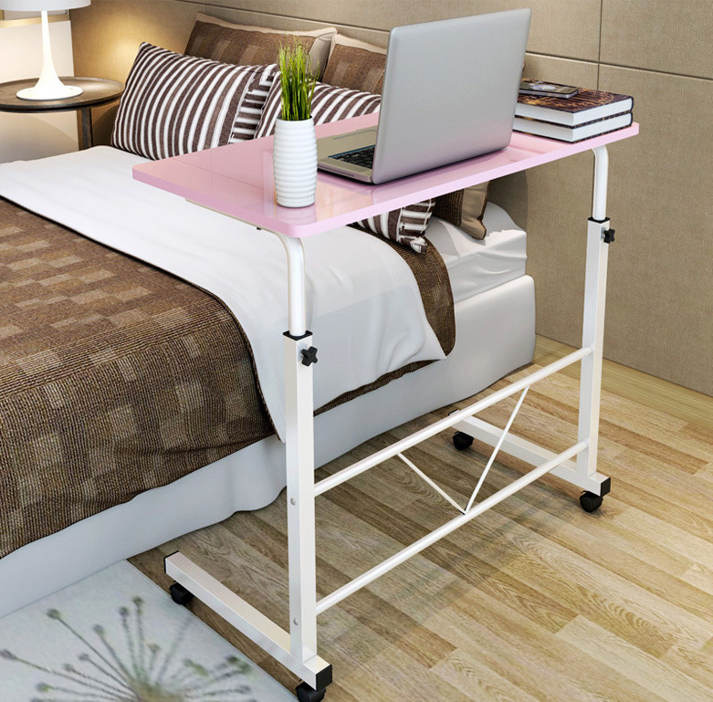 Adjustable Portable Sofa Bed Side Table Laptop Desk with Wheels (Pink)