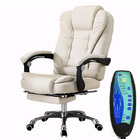 Apex Deluxe Executive Reclining Office Chair with Foot Rest & Massager (White/Cream)