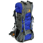 60L Large Durable Hiking Backpack Travel Bag (Blue)