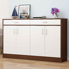 Elements 4-Door Double Buffet Shoe Storage Cabinet (Walnut & White)