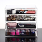 4 Large Drawers Clear Acrylic Cosmetic Makeup Display Organiser Storage Case