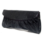 Crocodile Leather Look Handbag Evening Party Bag with Straps Pouch (Black)
