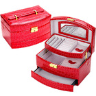 Large  Luxury PU Leather Jewellery Box Storage Case (Red)
