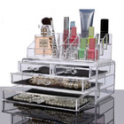 Clear Acrylic Cosmetic Makeup Display Organiser Jewellery Box 4 Drawer Storage