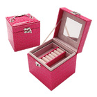 Deluxe PU Leather Jewellery Box Storage Case Organiser Gift (Pink)