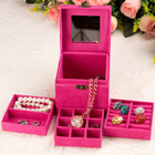 Deluxe Velvet Jewellery Box 3 Level Organizer Hot Pink