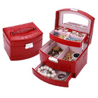 Luxury PU Leather Jewellery Box Storage Case (High Gloss Red)