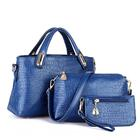 3 Pieces PU Leather Handbag Set, Tote, Shoulder Bag, Clutch Purse Wallet (Navy Blue)