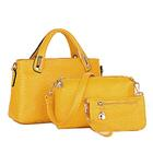 3 Pieces PU Leather Handbag Set, Tote, Shoulder Bag, Clutch Purse Wallet (Yellow)