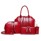 4-Piece Leather Handbag Set, Tote, Shoulder Bag, Clutch Purse Wallet & Key Holder (RED)