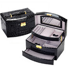 Large Luxury PU Leather Jewellery Box Storage Case (Black)