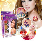 Shimmer Glitter Temporary Tattoos Party Art Kit with Brush