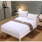 Luxe Home 3 Piece Bedding Set Fitted Sheet and Pillowcases - Queen Size 180cm (White)