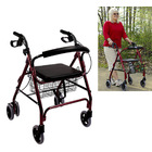 6-Wheel Senior's Foldable Rollator Mobility Walker Walking Frame with Seat