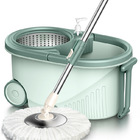 Advanced 360 Degree Spin Mop & Stainless Steel Bucket Kit with Wheels (Green)